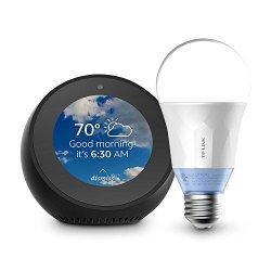 Echo Spot - Black + TP-Link Smart Bulb