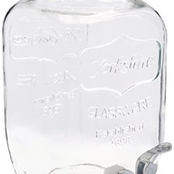 FineDine Glass Beverage Dispenser Mason Jar with Leak Proof Spigot