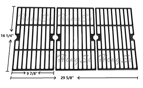 Hongso Matte Cast Iron Cooking Grid Replacement for Uniflame, Uniflame , Backyard Grill and Other Gas Grill Models, Set of 3