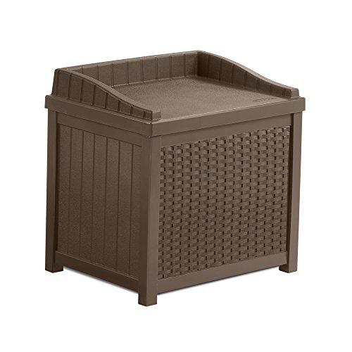 Suncast Mocha Resin Wicker 22 - Gallon Storage Seat