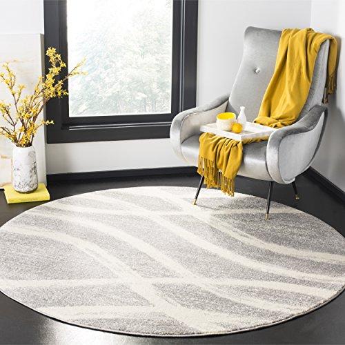 Safavieh Adirondack Collection Grey and Cream Modern Round Area Rug (6' in Diameter)