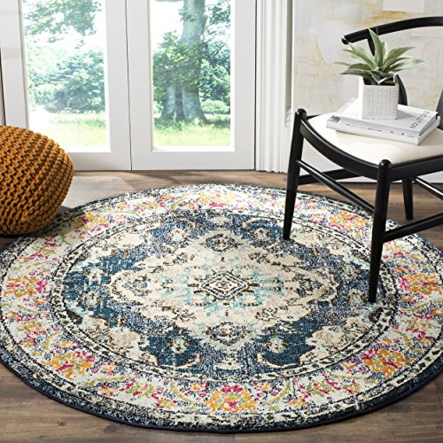 """Safavieh Monaco Collection Vintage Bohemian Navy and Light Blue Distressed Round Area Rug (6'7"""" in Diameter)"""
