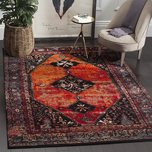 "Safavieh Vintage Hamadan Collection Oriental Antiqued Orange and Multi Area Rug (5'3"" x 7'6"")"