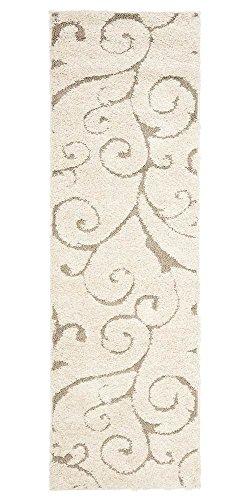 "Safavieh Florida Shag Collection Scrolling Vine Cream and Beige Graceful Swirl Runner (2'3"" x 17')"