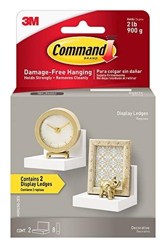Command Display Ledges, Quartz, 2-Ledges, 8-Medium Foam Strips