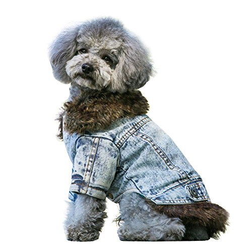 Cute Fleece Lining Jean Dog Vest Winter Coat Warm Dog Apparel