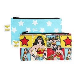 Bumkins DC Comics Reusable Snack Bag Small 2 Pack, Wonder Woman