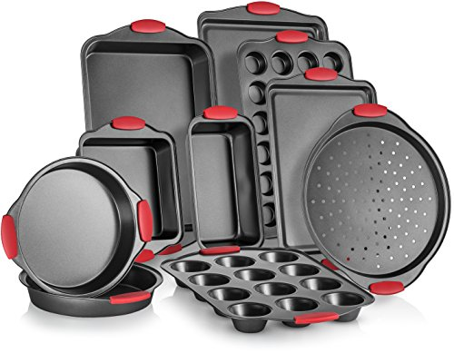 Perlli 10-Piece Nonstick Carbon Steel Bakeware Set With Red Silicone Handles