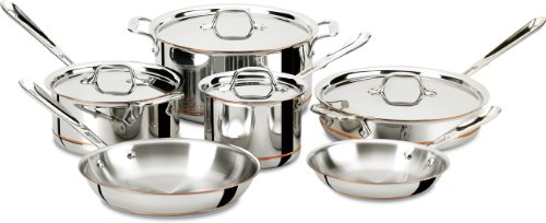 All-Clad Copper Core 5-Ply Bonded Dishwasher Safe Cookware Set, 10-Piece, Silver