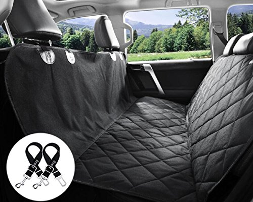 Bonve Pet Dog Seat Cover - Waterproof Pets Car Seat Covers Liner – with 2 Adjustable Pet Car Seats Safety Belts Best Dog Hammock Bench Protector for Cars, SUV, Truck Backseat