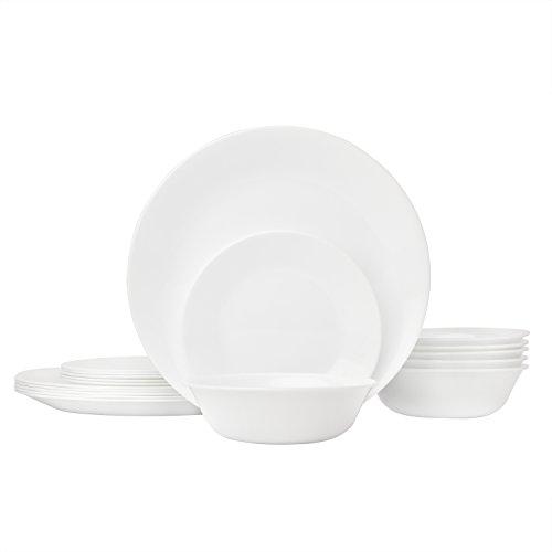 Corelle Livingware 18-Piece Glass Dinnerware Set, Winter Frost White, Service for 6