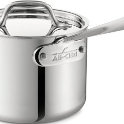 All-Clad Stainless Steel Tri-Ply Bonded Dishwasher Safe Sauce Pan with Lid Cookware, 1.5-Quart, Silver