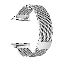 BRG for Apple Watch Band 38mm 42mm, Stainless Steel Mesh Milanese Loop with Adjustable Magnetic Closure Replacement iWatch Band for Apple Watch Series 3 2 1 (Silver, 42mm)