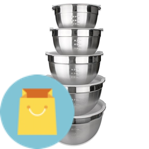 Stainless Steel Mixing Bowls Set of 5 with Plastic Lids-JUNING