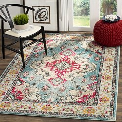 "Safavieh Monaco Collection Vintage Bohemian Light Blue and Fuchsia Distressed Area Rug (5'1"" x 7'7"")"