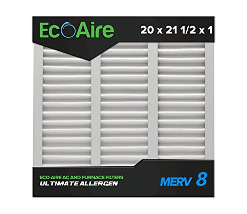 Eco-Aire 20x21 1/2x1 MERV 8, Pleated Air Filter, 20 x 21 1/2 x 1, Box of 6, Made in the USA