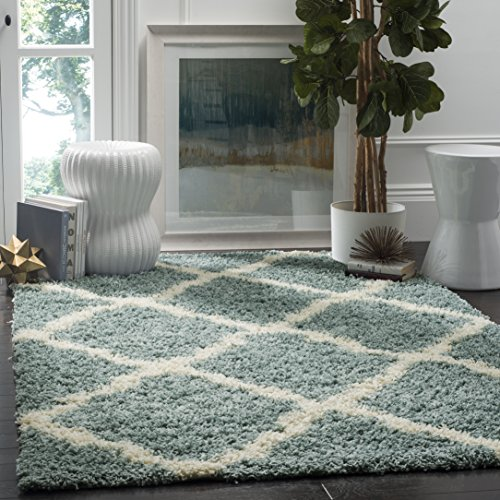 Safavieh Dallas Shag Collection Light Blue and Ivory Area Rug (4' x 6')