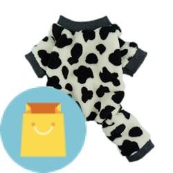 Adorable Milk Cows Pet Dog Clothes Comfy Velvet Winter Pajamas Coat