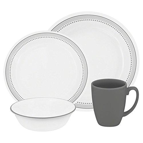 Corelle Livingware 16-Piece Dinnerware Set, Mystic Gray, Service for 4