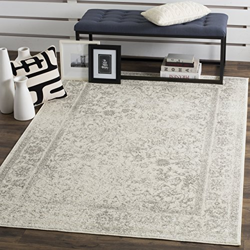 Safavieh Adirondack Collection Ivory and Silver Oriental Vintage Distressed Area Rug (8' x 10')