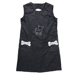 Kuoser Waterproof Apron Anti-static Pet Dog Cat Grooming Apron Professional Smock with pockets (XL, Black)