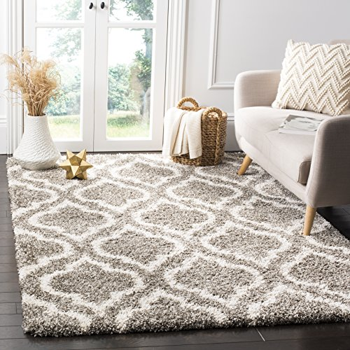 "Safavieh Hudson Shag Collection Grey and Ivory Moroccan Geometric Area Rug (5'1"" x 7'6"")"