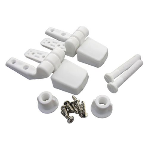 LASCO White Plastic Toilet Seat Hinge with Bolts and Nuts