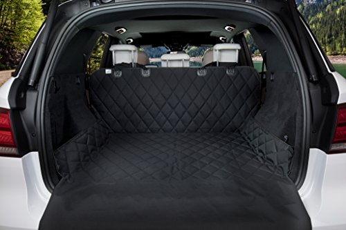 BarksBar Luxury Pet Cargo Cover & Liner For Dogs - 80 x 52 Black, Quilted Waterproof Machine Washable & Nonslip Backing With Bumper Flap Protection- For Cars, Trucks & SUVs