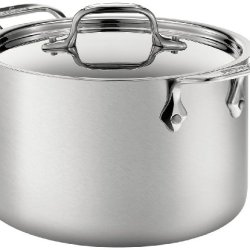 All-Clad Brushed 18/10 Stainless Steel 5-Ply Bonded Dishwasher Safe Soup Pot with Lid Cookware, 4-Quart, Silver