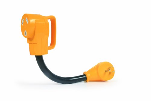 Camco RV Dogbone Electrical Adapter With PowerGrip Handle, 15 Amp Male to 30 Amp Female, 12-Inch