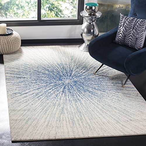 """Safavieh Evoke Collection Contemporary Burst Royal Blue and Ivory Area Rug (6'7"""" x 9')"""