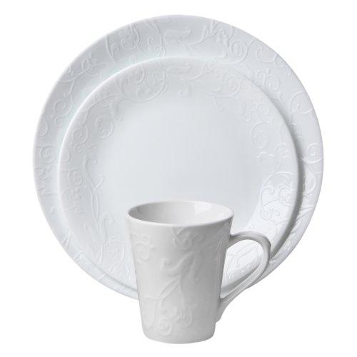 Corelle Embossed Bella Faenza 16-Piece Dinnerware Set, Service for 4, White