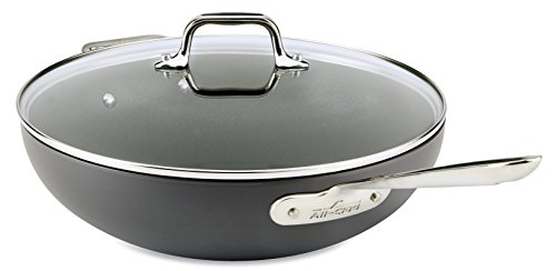 All-Clad Hard Anodized Nonstick Dishwasher Safe PFOA Free Chefs Pan / Wok Cookware, 12-Inch, Black