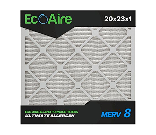 Eco-Aire 20x23x1 MERV 8, Pleated Air Filter, 20x23x1, Box of 6, Made in the USA