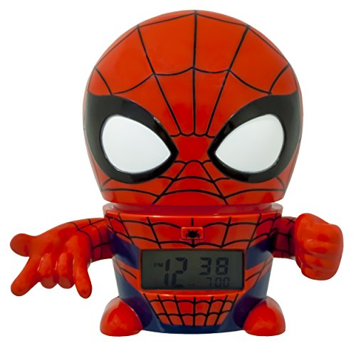 Bulb Botz Marvel 2021425 Spider Man Kids Night Light Alarm Clock with Characterised Sound | red/blue | plastic | 5.5 inches tall | LCD display | boy girl | official