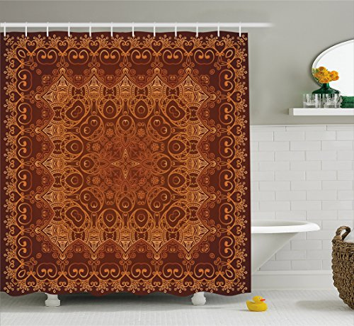 Ambesonne Antique Decor Vintage Shower Curtain, Lacy Persian Arabic Pattern from Ottoman Empire Palace Carpet Style Artprint, Fabric Bathroom Shower Curtain, 84 Inches Extra Long, Orange Brown