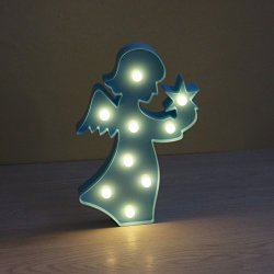 DELICORE Marquee LED Lighted Angel Sign Figurine for table Wall Decor Battery Operated (Blue)