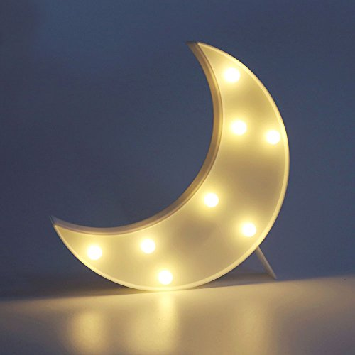 DELICORE Decorative LED Crescent Moon Marquee Sign - MOON Marquee Letters LED Lights - Nursery Night Lamp GIFT for Children (White)