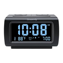 "DreamSky Decent Alarm Clock Radio with FM Radio, USB Port for Charging, 1.2 "" Blue Digit Display with Dimmer , Temperature Display, Snooze, Adjustable Alarm Volume , Sleep Timer."