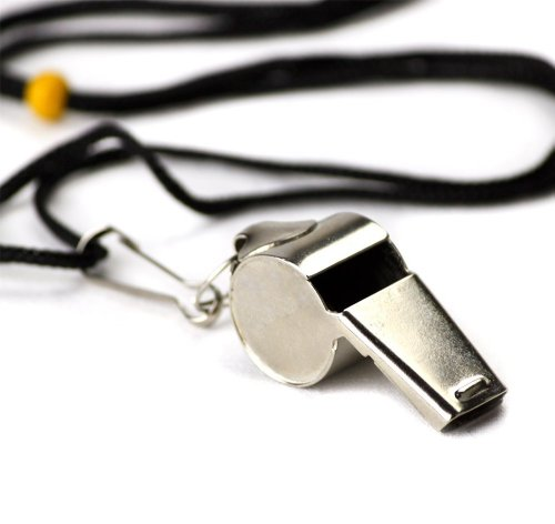 Crown Sporting Goods SCOA-001 Stainless Steel Whistle with Lanyard – Great for Coaches, Referees, and Officials