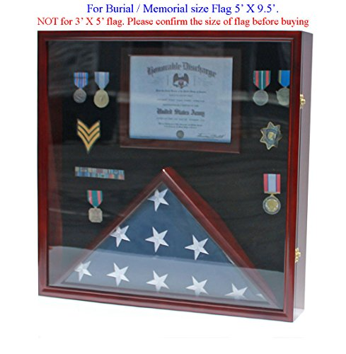 LARGE Memorial Flag Display Case Military Shadow Box Cabinet for Burial/Memorial 5'X9.5' Flag, Solid Wood, FC29-MA