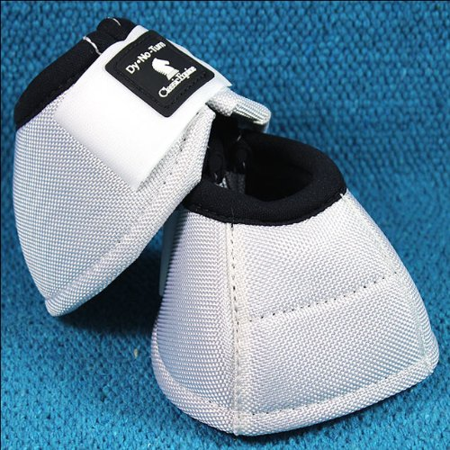 MEDIUM WHITE CLASSIC EQUINE DYNO HORSE NO TURN BELL BOOTS PAIR