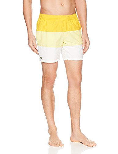 Lacoste Men's Nylon Color Block Mid Length, Solstice Yellow/Yellow/White, XL