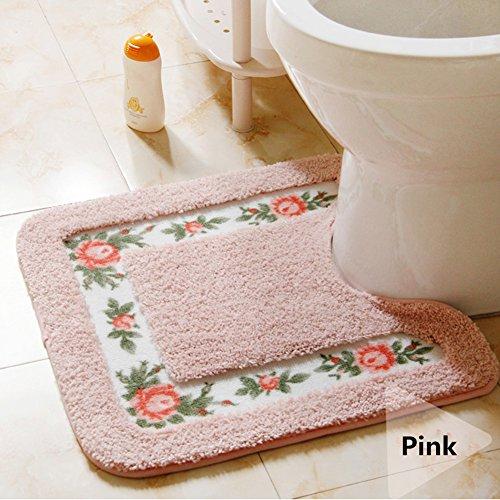Ukeler Non-skid Floral Rose Bathroom Contour Rugs, Set of 2 Soft Shaggy Non Slip