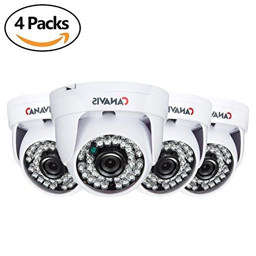 CANAVIS 4 Packs HD 720p 1280TVL Dome Indoor Security Camera (Quadbrid 4-in-1 HD-CVI/TVI/AHD/960H Analog CVBS), 36PCS LEDs, 65ft IR Night Vision Surveillance CCTV Camera