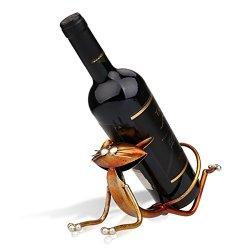 Tooarts Yoga Cat Metal Sculpture Wine Bottle Rack Holder Handwork Crafts