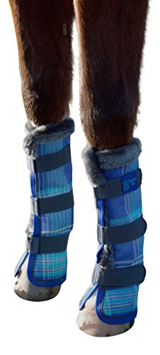 Kensington Horse Fly Boots with Comfortable Fleece Trim — Stay-Up Technology with Velcro Straps — Protection from Insect Bites and UV Rays — Sold in Pairs of 2 (Blue Ice Plaid)