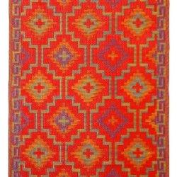 Fab Habitat 6-Feet by 9-Feet Lhasa Indoor/Outdoor Rug, Orange and Violet