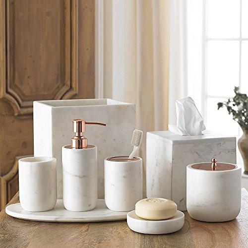 4-Piece Bath Accessory Set by Kassatex, Pietra Marble Bath Accessories   Lotion Dispenser, Toothbrush Holder, Tumbler, Soap Dish - Calacatta Marble