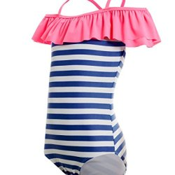 Off Shoulder Ruffled Flounce Sailer Stripes Bathing Suits